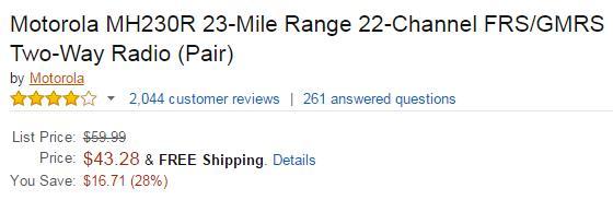 motorola walkie talkie mh230r