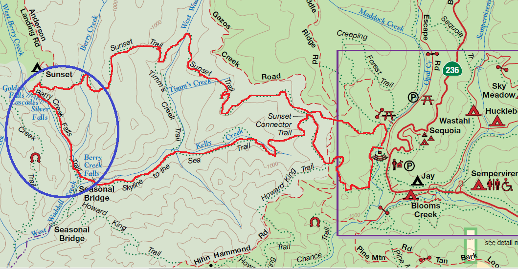 Big Basin Redwoods State Park Annotated Trail Map ~ Big Basin Trail Map