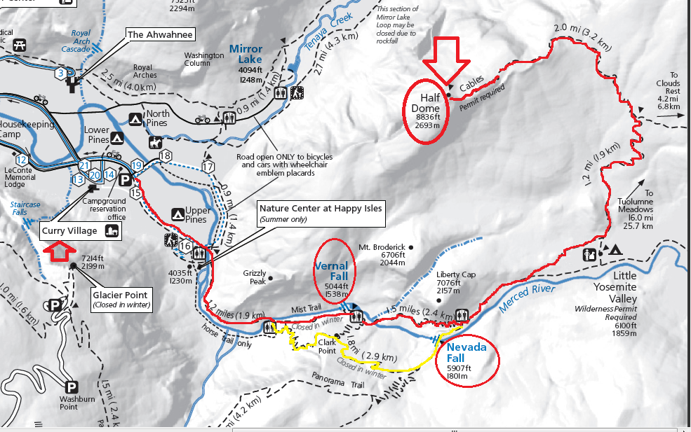 half dome hiking trail_map