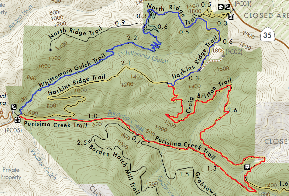 Purisima creek redwoods hiking map