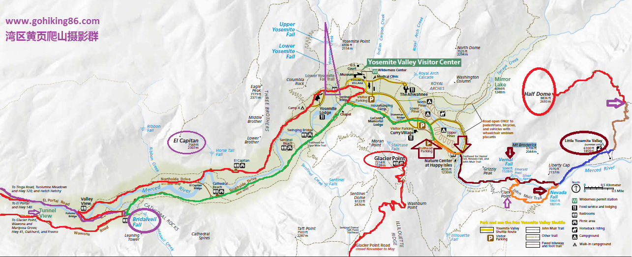yosemite valley and half dome map
